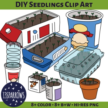 DIY seedlings clip art tpt preview