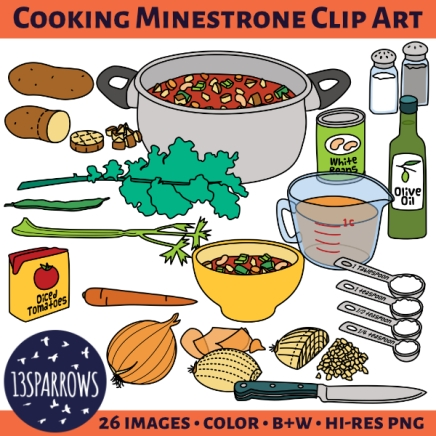 Kids' illustrations to help with chopping up vegetables and making some nice minestrone soup.
