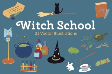 witch school vector illustrations