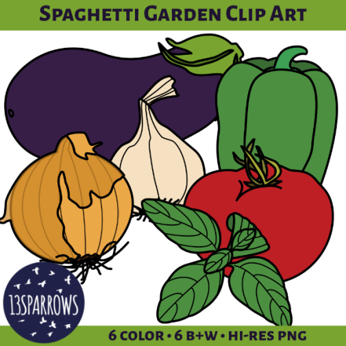 spaghetti garden clip art tpt preview