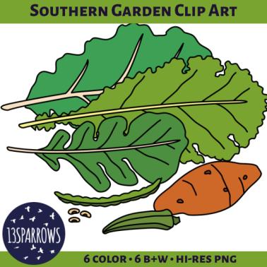 southern garden clip art tpt preview