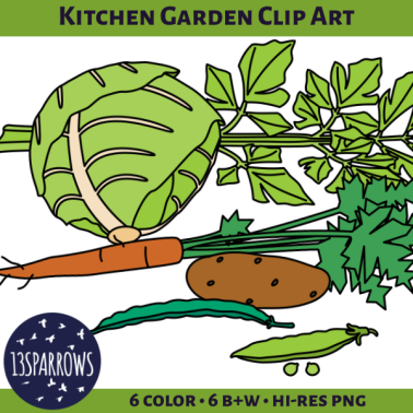 kitchen garden clip art tpt preview