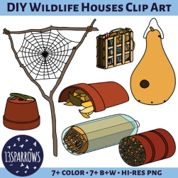 DIY wildlife houses clip art tpt