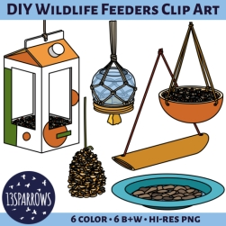 DIY wildlife feeders clipart