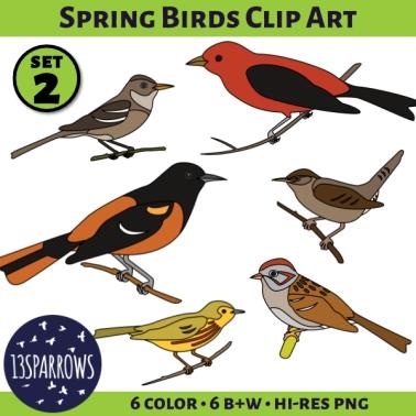 Spring Birds Clip Art, Set 2