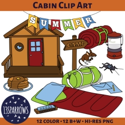 summer camp: cabin clip art tpt preview