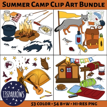 summer camp clip art bundle tpt preview.