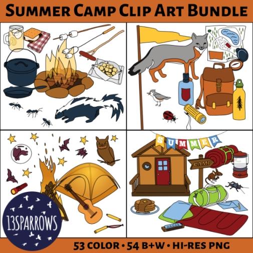 summer camp clip art bundle tpt preview.