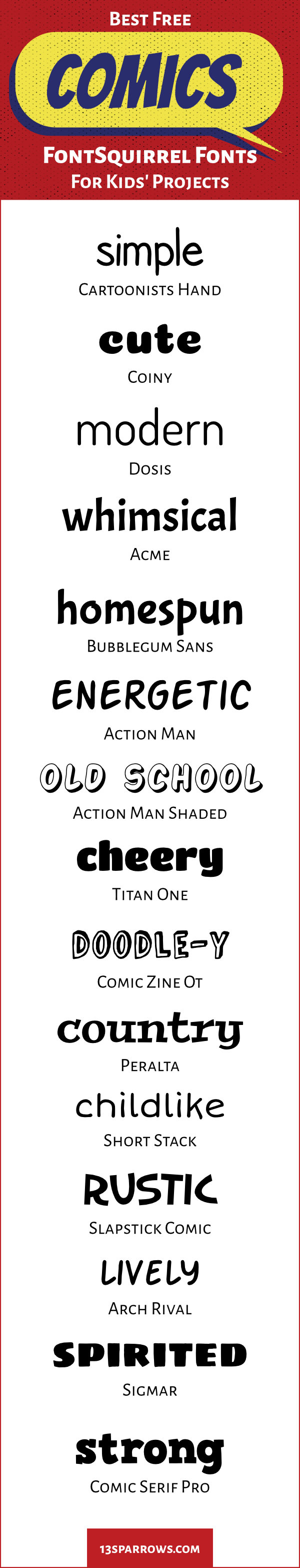 Use these fun, free, handwritten fonts for comics projects for kids. Download them on fontsquirrel.com.