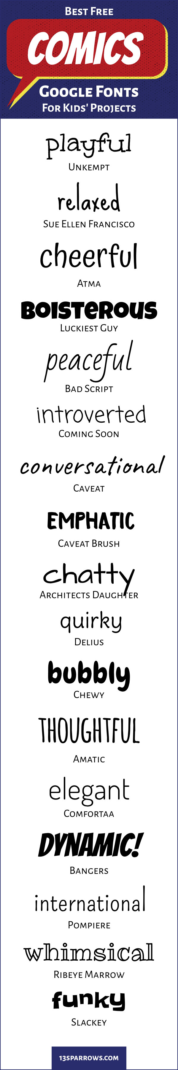 Use these fun, free, handwritten fonts for comics projects for kids. Download them on fonts.google.com.