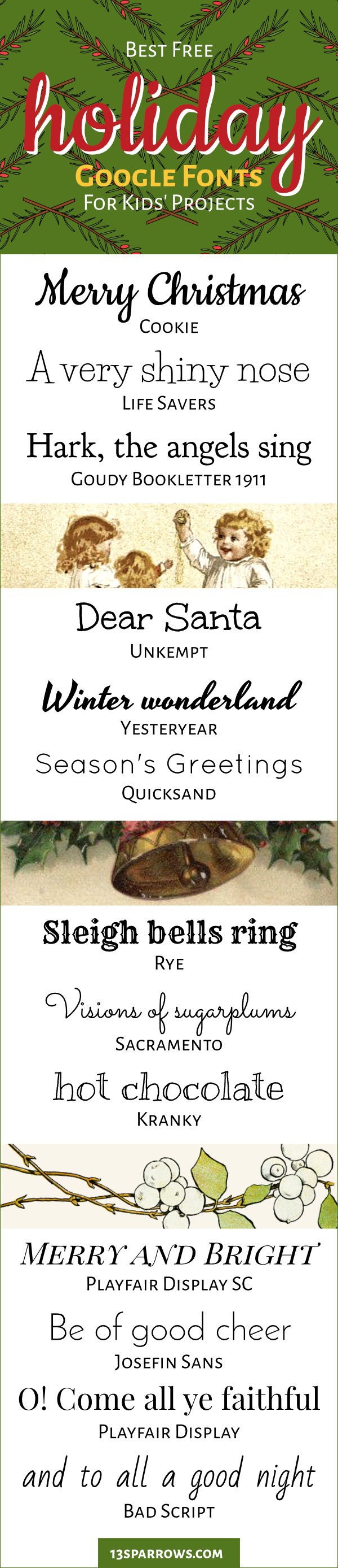 Use these fun, free, handwritten fonts for Christmas and winter holiday projects for kids. Download them on fonts.google.com.