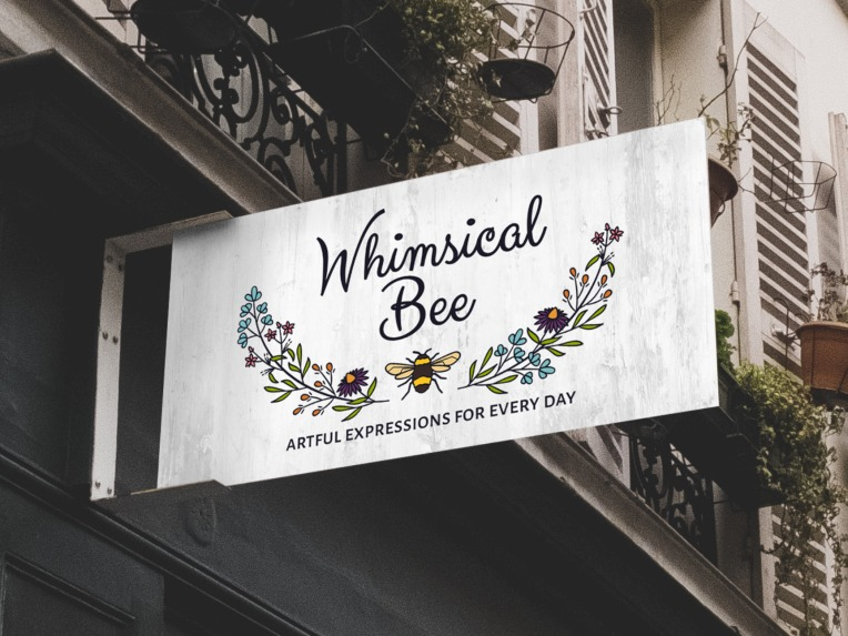 Whimsical Bee Logo sign mockup