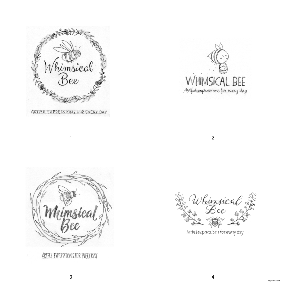Whimsical Bee logo roughs