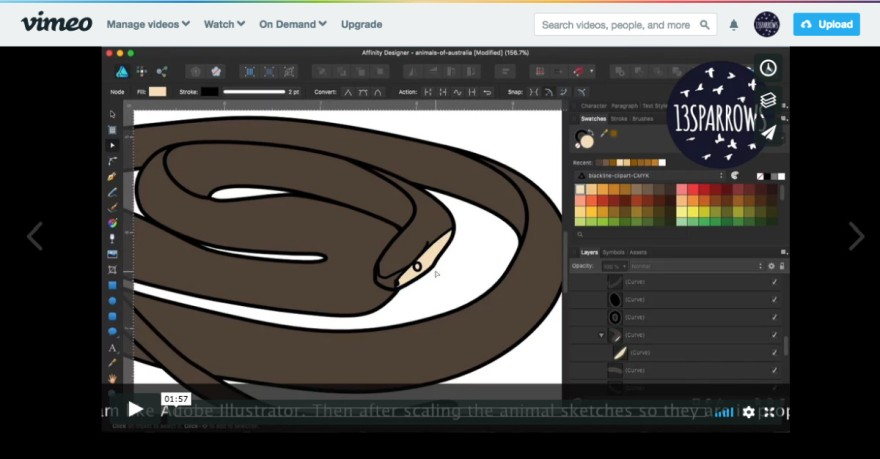 A screen capture of the vimeo page for Creating the Australian Snakes Clip Set video, showing the Affinity Designer application open to a drawing of an eastern brown snake.