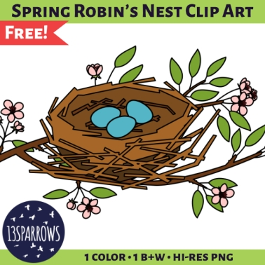 A product preview for the Spring Robin's Nest Clip Art set showing an illustration of a robin's nest with three light blue eggs in a flowering pear tree branch with pink blossoms and bright green leaves. 13sparrows