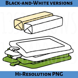 A product preview showing clip art from the Baking Clip Art, Set 1 showing a color version and a black and white version of some of the artwork. 13sparrows.