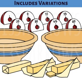 A product preview of the Baking Clip Art, Set 1, showing the kitchen timer, yellow ware mixing bowl, and stick of butter variations. 13sparrows.