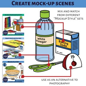 """A product preview for mockup style clip art sets. Create mock-up scenes. On the left are the product previews for three different clip art sets. On the right are clips form each set set up in a scene. Mix and match from different """"Mockup Style"""" sets. Use as an alternative to photography. 13sparrows."""
