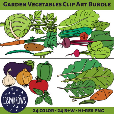 A product preview for the Garden Vegetables Clip Art Bundle which includes the Kitchen Garden, Salad Garden, Spaghetti Garden, and Southern Garden Vegetables Clip Art sets. Showing a grid of four panels, each with the six colorful vegetables from the four sets. 13sparrows
