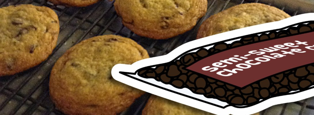 A photograph showing a batch of homemade chocolate chip cookies cooling on a rack. An illustration of a bag of chocolate chips is superimposed on top.