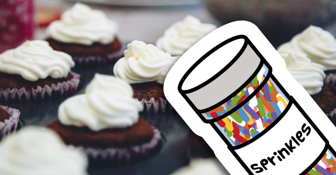 A photograph of muffin pan full of chocolate cupcakes with white frosting swirled on top. On top of the photo is a clip art illustration of container of rainbow sprinkles. pexels and 13sparrows