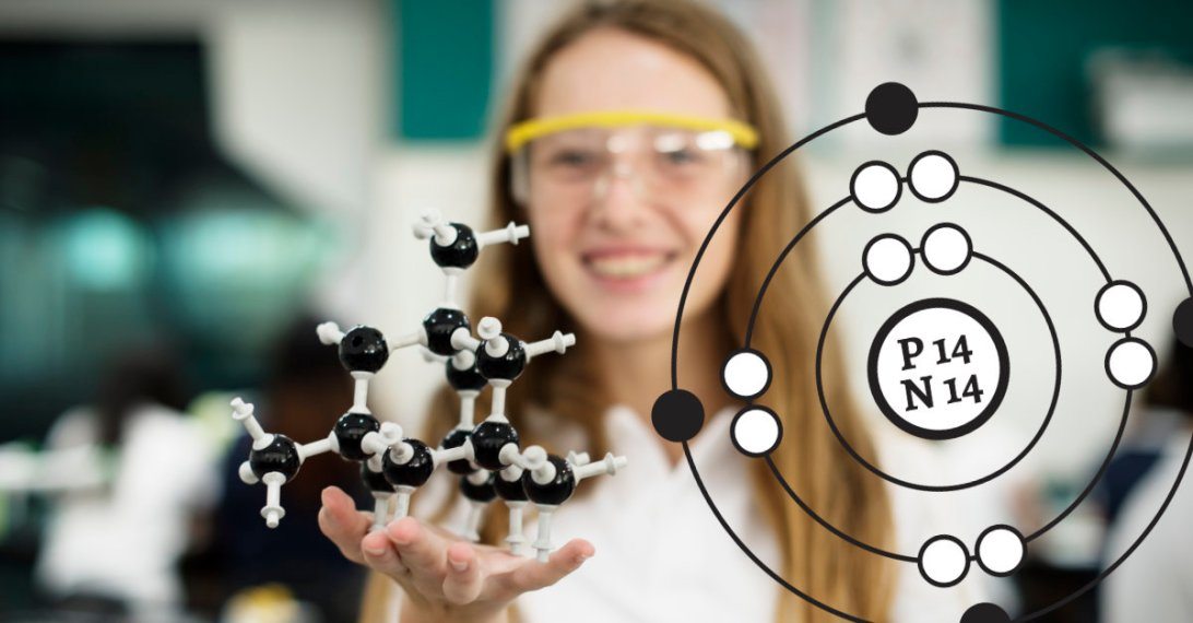 A photograph of a student holding a model of a molecule in a science classroom. Superimposed on the image is an illustration of a Rutherford-Bohr style drawing of a chlorine atom.