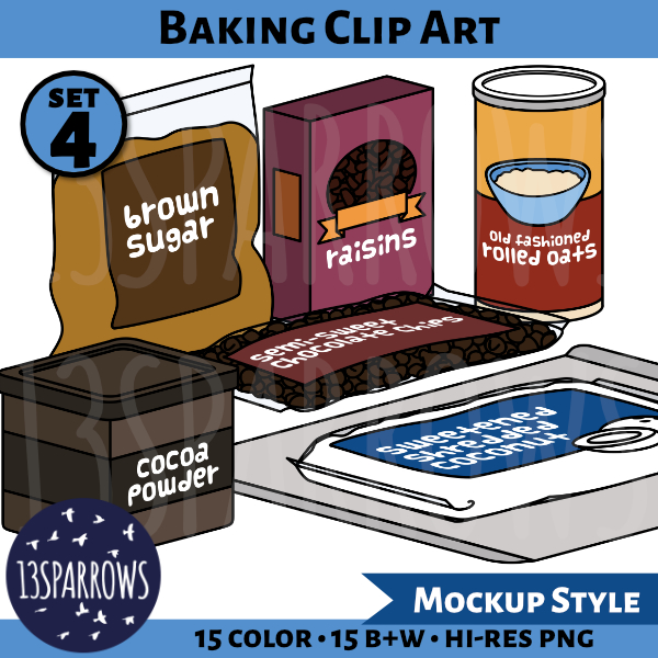 A product preview for the mockup style Baking Clip Art, Set 2 collection showing illustrations of a bag of brown sugar, a box of raisins, a canister of rolled oats, a bag of chocolate chips, a bag of cocoa powder, a cookie sheet, and a bag of shredded coconut.