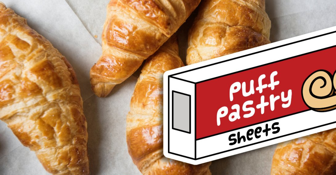 a photograph of croissants on parchment paper with an illustration of a puff pastry box superimposed on top.
