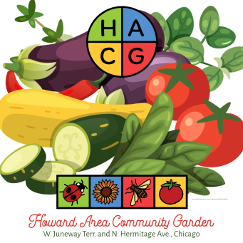 A flyer for the Third Annual Organic Plants Sale for the Howard Area Community Garden at W. Juneway Terr. and N. Hermitage Ave., Chicago. The HACG logo is at the top and fun, fresh, colorful garden vegetables laid out in an illustration.